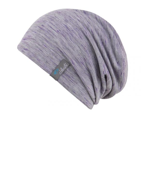 Beanie Leeds grijs met violet - chemo mutsje / alopecia mutsje