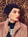Turban Pearl Boho Spirit - Velvet Navy - chemo turban velvet / alopecia hoofdbedekking