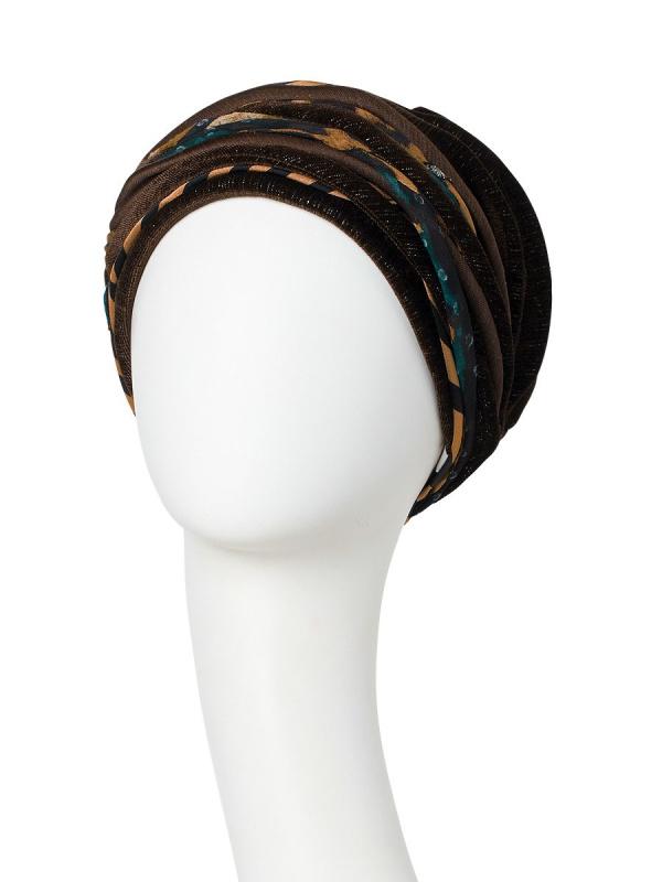 Turban Scarlett Shiny Brown Animal Mix - chemo muts / alopecia turban