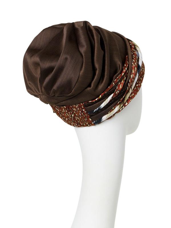 Turban Scarlett Structured Brown - chemo mutsje / alopecia hoofdbedekking