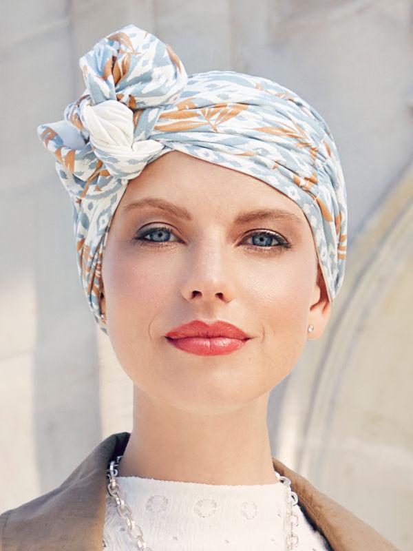 Chemo mutsjes Christine - Sjaalmutsje Beatrice - Ikat Blues - voorgevormd chemo sjaaltjeoofddoekje
