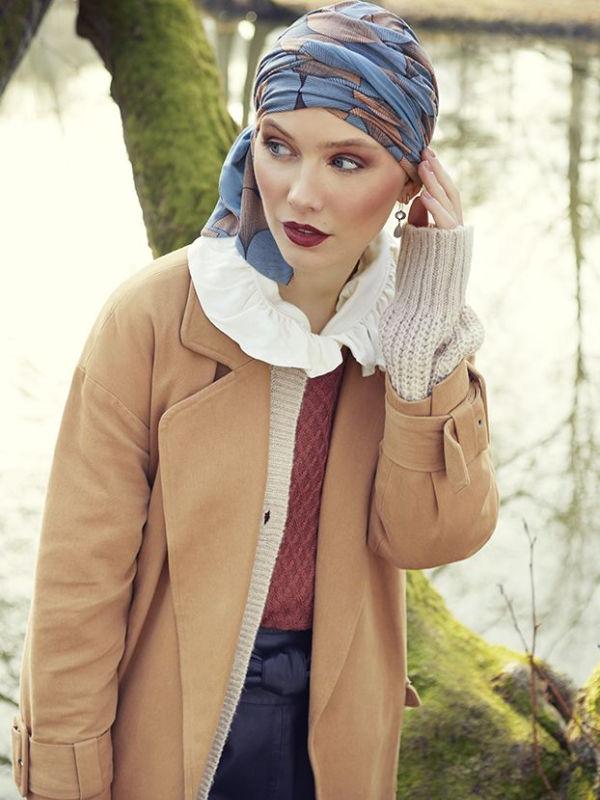 Chemo mutsjes Christine - Sjaalmutsje Beatrice - Autumn Illusions  - voorgevormd chemo sjaaltje