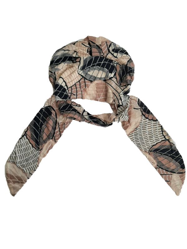 Sjaalmutsje Beatrice Caramel Dreams - Linnen - voorgevormde chemo sjaal /  alopecia mutsje