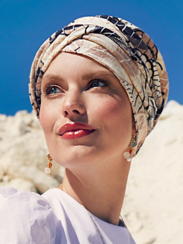 Turban Shakti Linnen Caramel Dreams - chemo muts /  alopecia mutsje