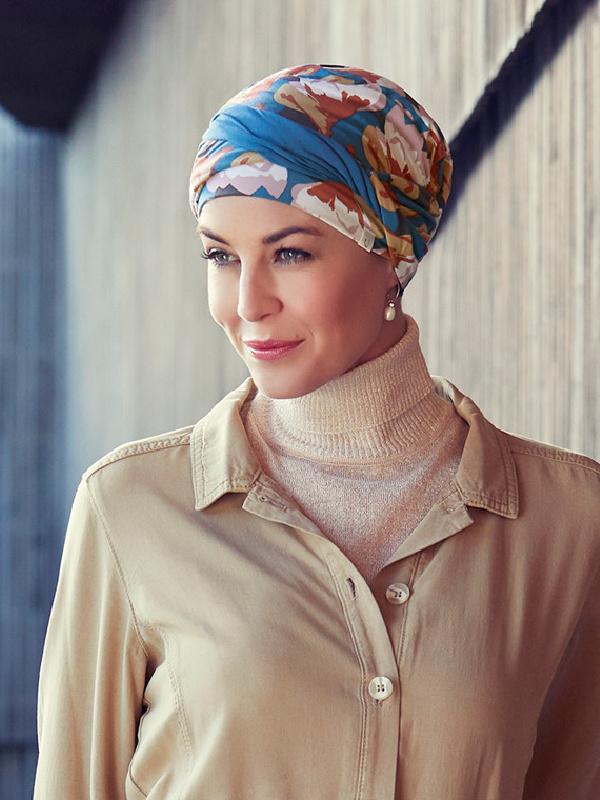 Turban Shakti Printed Autumn Cherry - chemo mutsje / alopecia hoofdbedekking