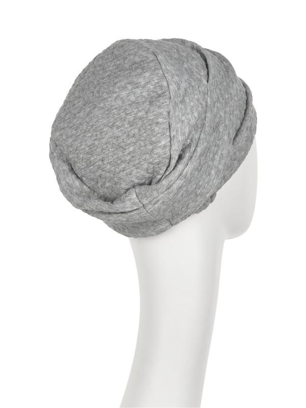 Turban Nelly V grijs - chemo mutsje / alopecia hoofdbedekking