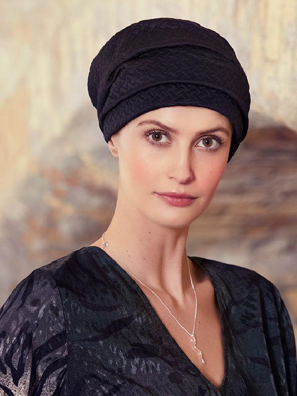 Turban Nelly V zwart - chemo mutsje / alopecia hoofdbedekking