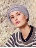Turban Rosa V grijs melange - chemo mutsje / alopecia mutsje