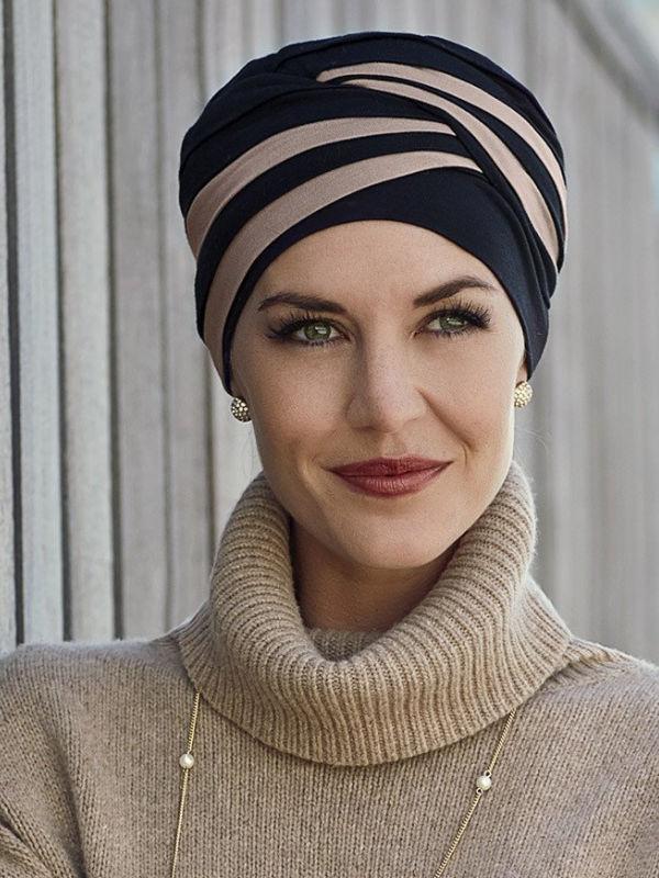 Top Shanti Zwart Zand - chemo muts / alopecia hoofdbedekking