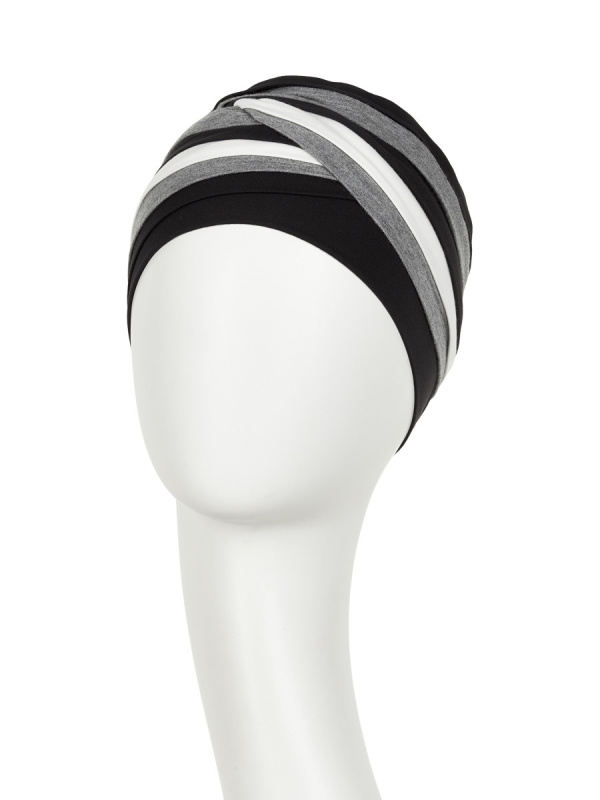 Top Shanti Grijs Zwart Ivoor - chemo muts / alopecia hoofdbedekking