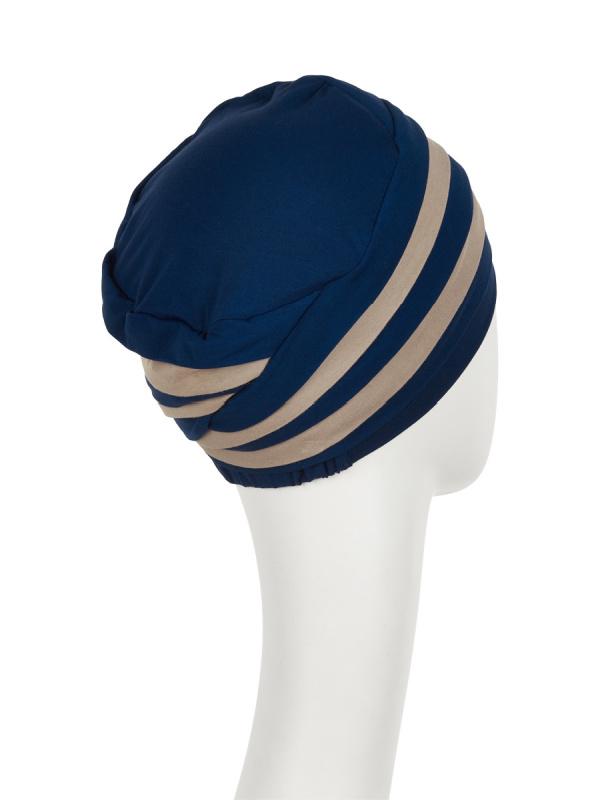 Top Shanti nachtblauw/zand  - chemo mutsje / alopecia hoofdbedekking