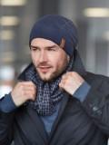 Beanie Venture - blauw - chemo muts man /  alopecia hoofdbedekking