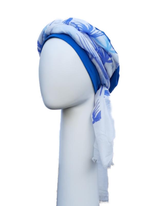 Top Tio blue & sjaal palm trees - chemo mutsje met chemo sjaal