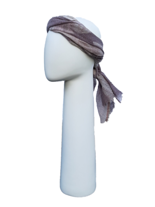 Top Tio aubergine & sjaal feathers - mutsje chemokuur / alopecia hoofdbedekking
