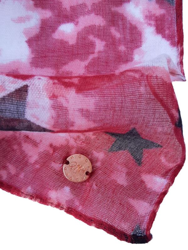 Top Tio grijs & sjaal stars red - chemo mutsje met chemo sjaal