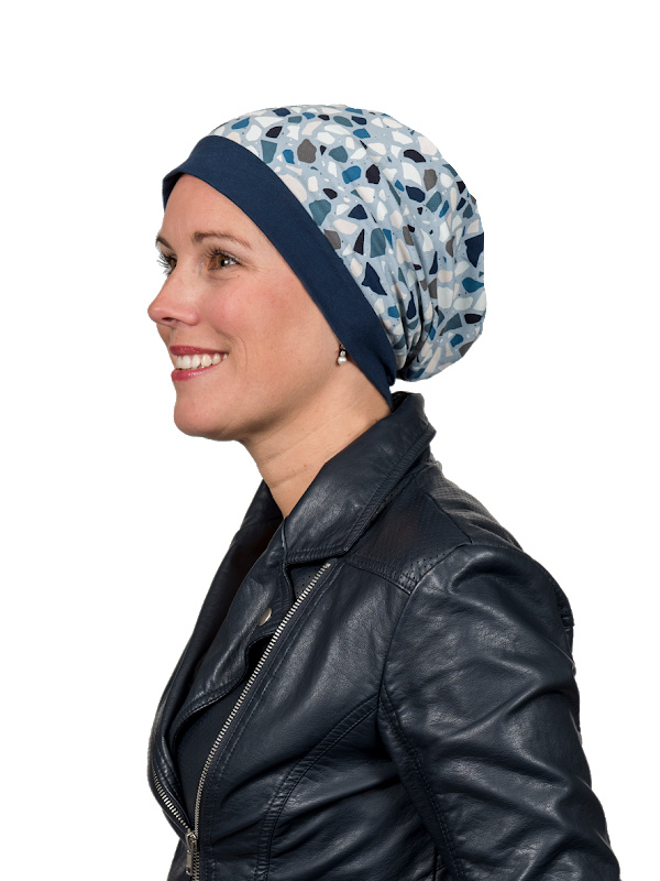 Chemo mutsjes Mooihoofd - Top Mix Pebbles Blue