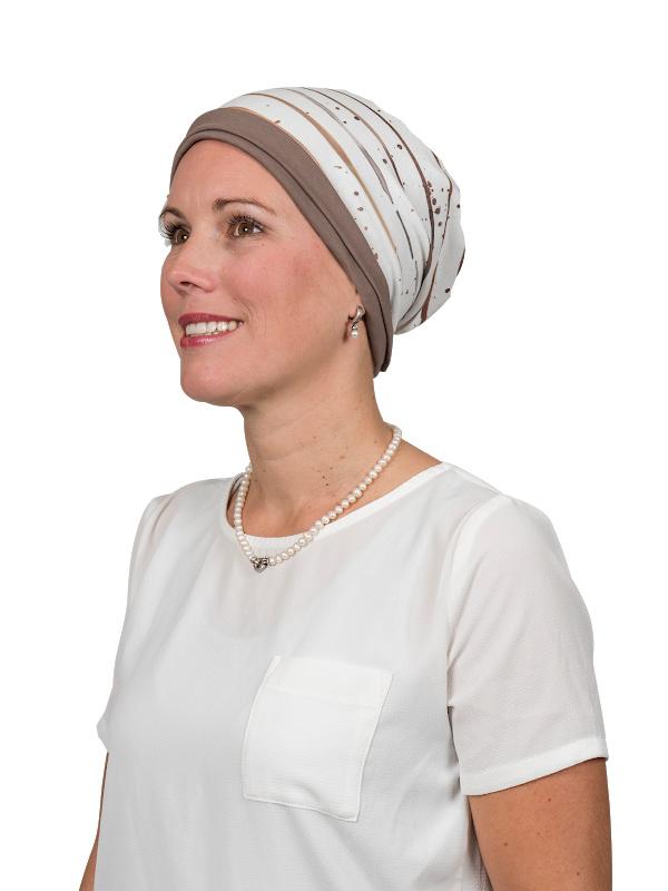 Top Mix Stripes Taupe - chemo mutsje / alopecia mutsje