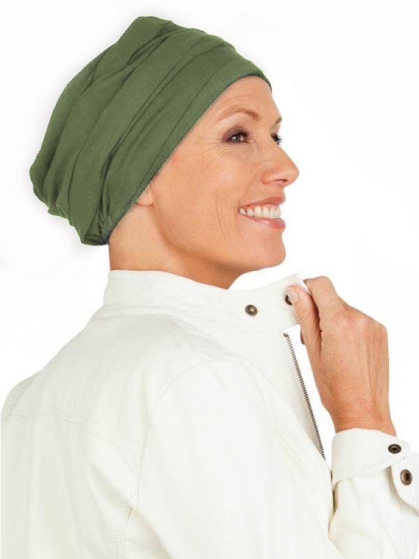 Top PLUS olijf - chemo muts / alopecia hoofdbedekking