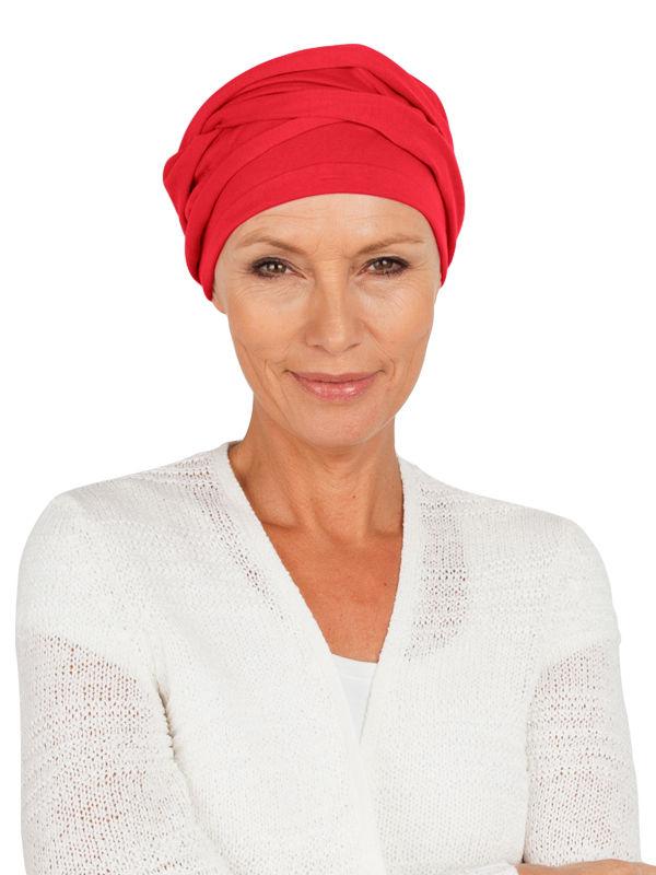 Top PLUS rood - chemotherapie muts / alopecia hoofdbedekking