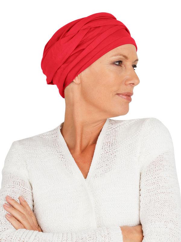 Top PLUS rood - chemo mutsje  / alopecia hoofdbedekking