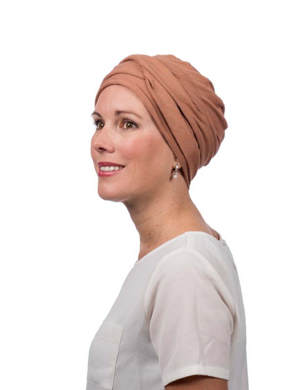 De Top PLUS brique melee - chemotherapie hoofdbedekking / alopecia mutsje - van Mooihoofd
