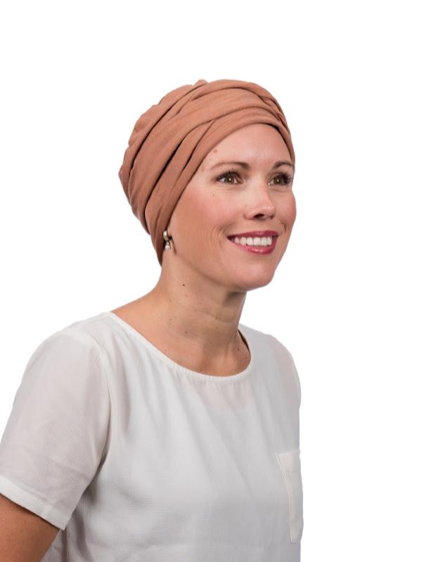 De Top PLUS brique melee - chemotherapie hoofdbedekking / alopecia mutsje - rechtsvoor