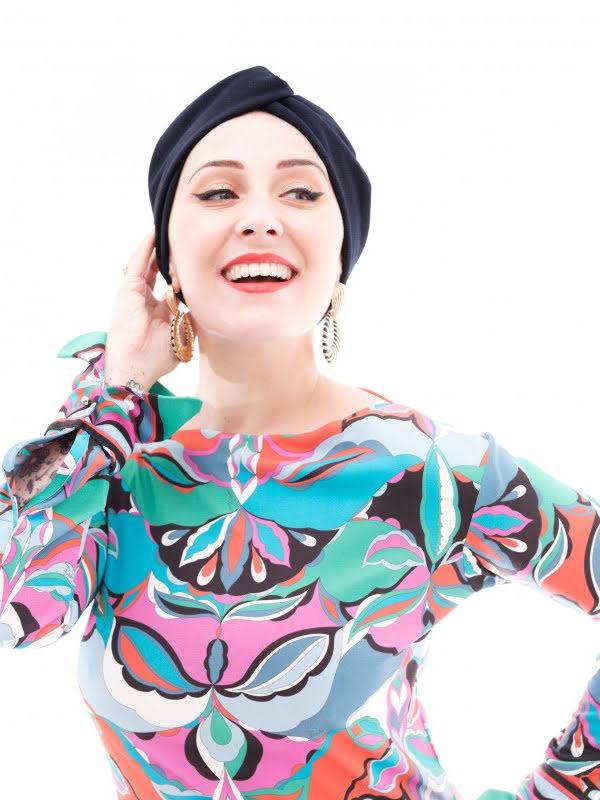 Turban Nicole Cross-Navy - chemo mutsje / alopecia mutsje