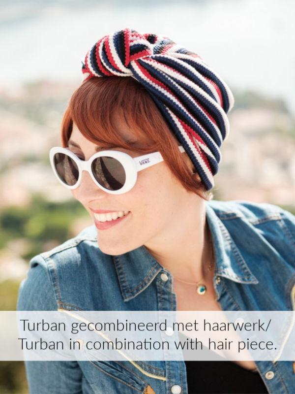 Turban Vintage Tricolore - chemo mutsje / alopecia mutsje