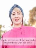 Turban Cross navy melee - chemo mutsje / alopecia mutsje