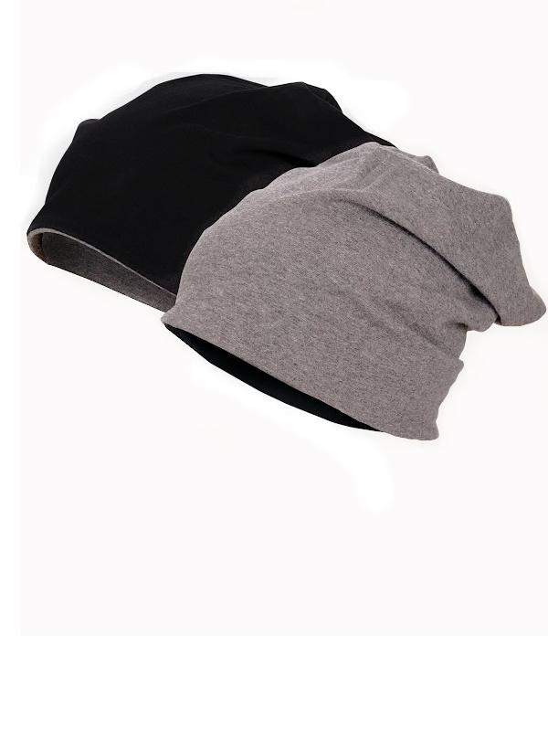 Beanie Reversible - Black & Grey - chemo mutsje / alopecia mutsje