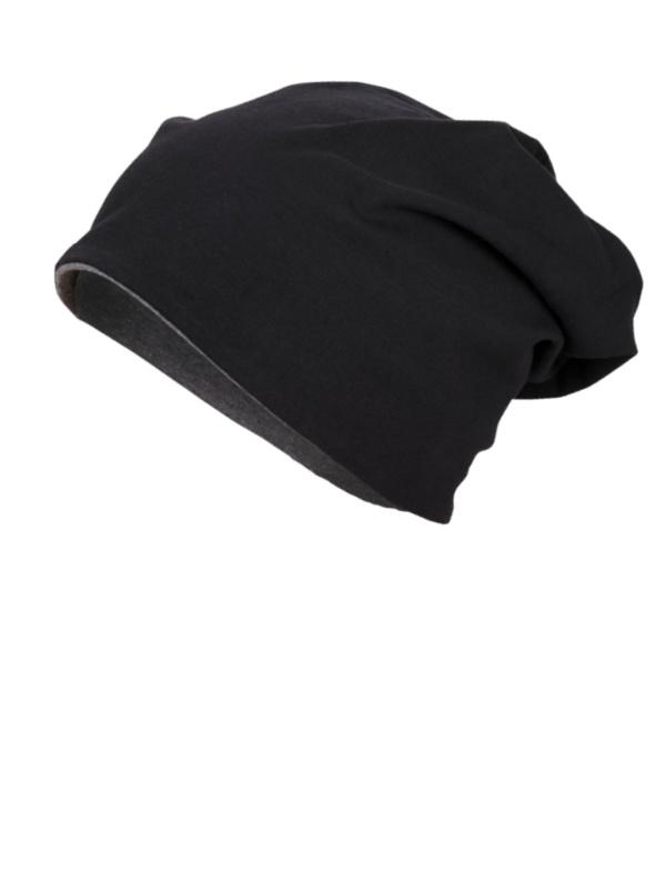 Beanie Reversible - Black & Charcoal - chemo mutsje / alopecia mutsje
