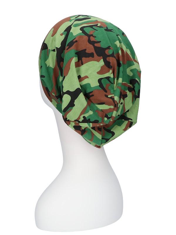 Top camo groen / zwart - chemo mutsje / alopecia mutsje