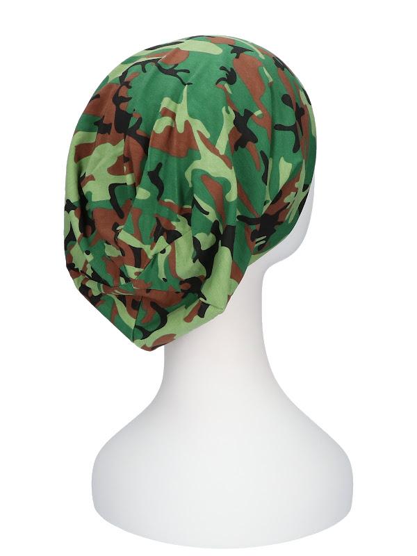 Top camo groen / zwart - chemo beanie / alopecia mutsje