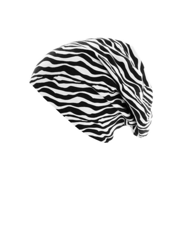 Beanie printed zebra - chemo mutsje / alopecia mutsje