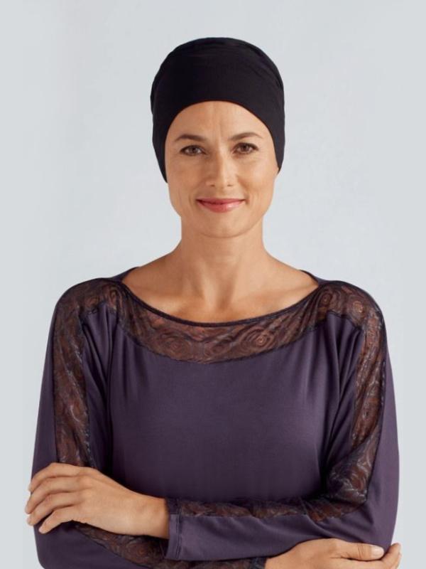 Nachtmutsje Ivy - zwart - chemo mutsje / alopecia mutsje