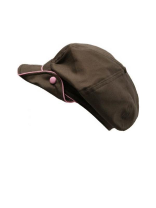 Pet bakerboy Button Brown/Pink - chemo pet / alopecia hoofdbedekking