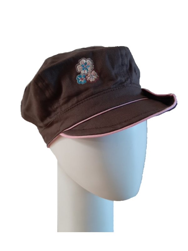 Kids Pet bakerboy Button brown and pink