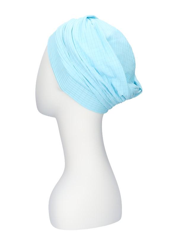 Comfortabel mutsje Iris Fantasie Blauw - mutsje voor chemo / alopecia hoofdbedekking