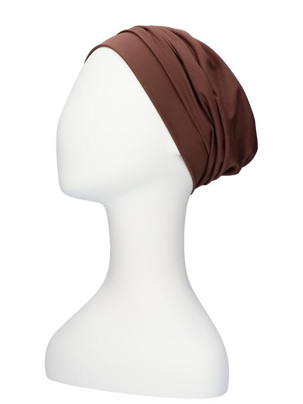 Comfortabel mutsje Iris Bruin - chemo mutsje / alopecia mutsje, te koop bij Mooihoofd.