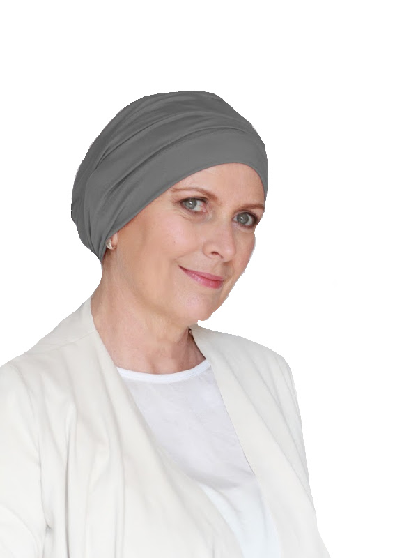 Comfortabel mutsje Iris Grijs - mutsje voor chemo / alopecia hoofdbedekking