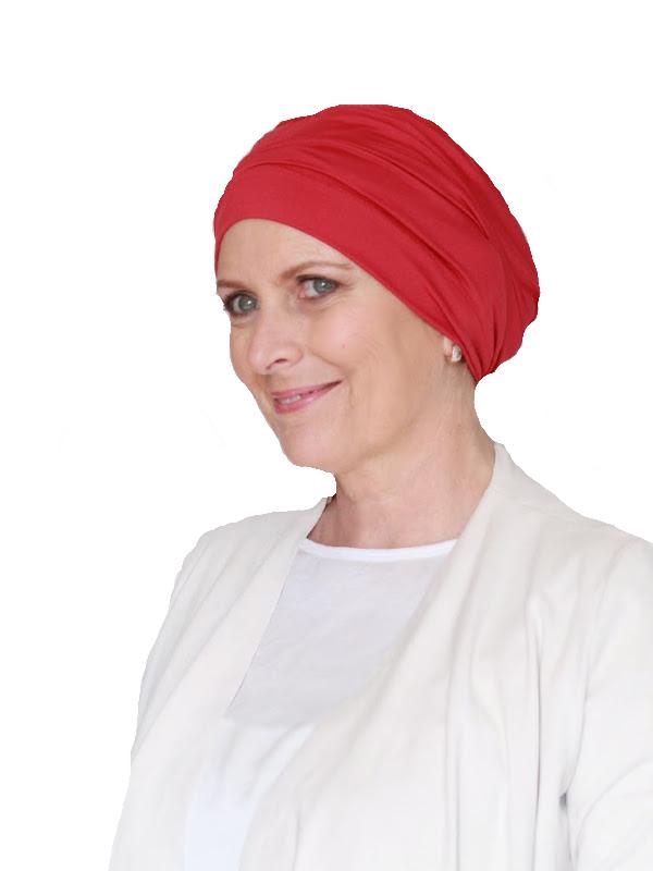 Comfortabel mutsje Iris rood - mutsje voor kanker / alopecia hoofdbedekking