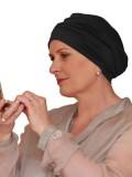 Comfortabel mutsje Iris zwart - chemotherapie mutsje / alopecia mutsje
