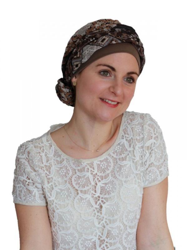 Top Mano Print Taupe - chemo mutsje / alopecia hoofdbedekking