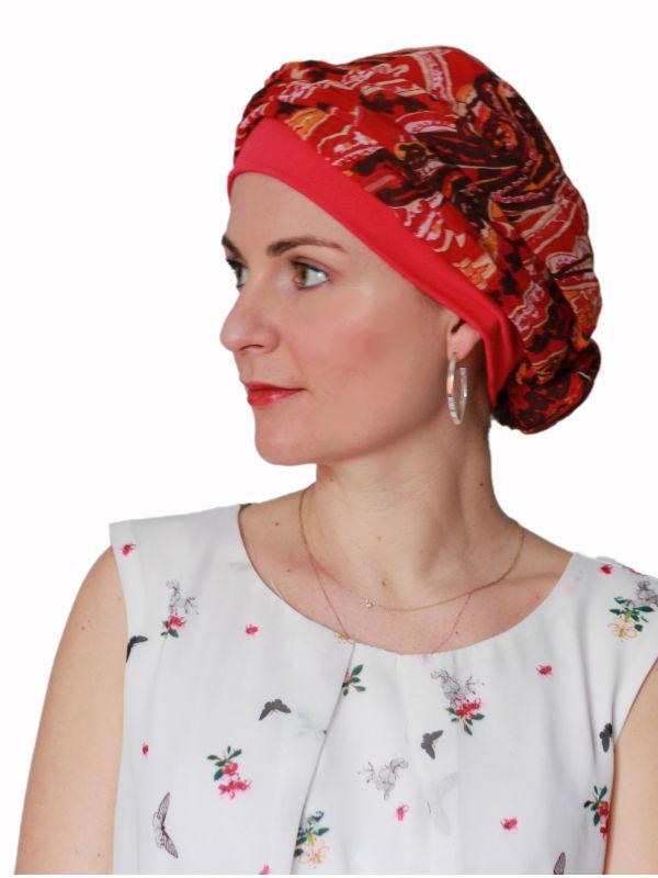 Top Mano print R - chemo mutsje / alopecia mutsje