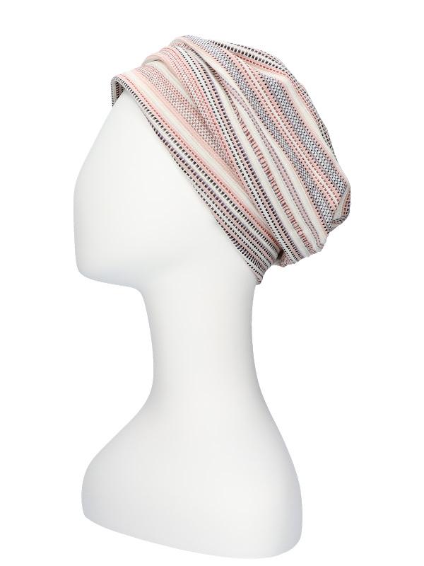 Mutsje Maya roze/rood - mutsje chemotherapie - alopecia hoofdbedekking