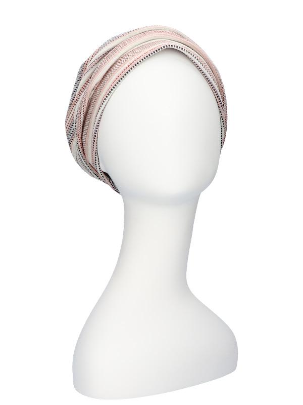 Mutsje Maya roze/rood - chemo hoofdbedekking - alopecia mutsje