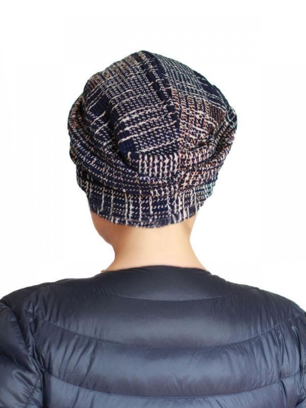 Mutsje Maya donker blauw patroon - chemo mutsje / alopecia mutsje