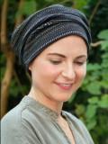 Mutsje Maya zwart patroon - chemo mutsje / alopecia mutsje
