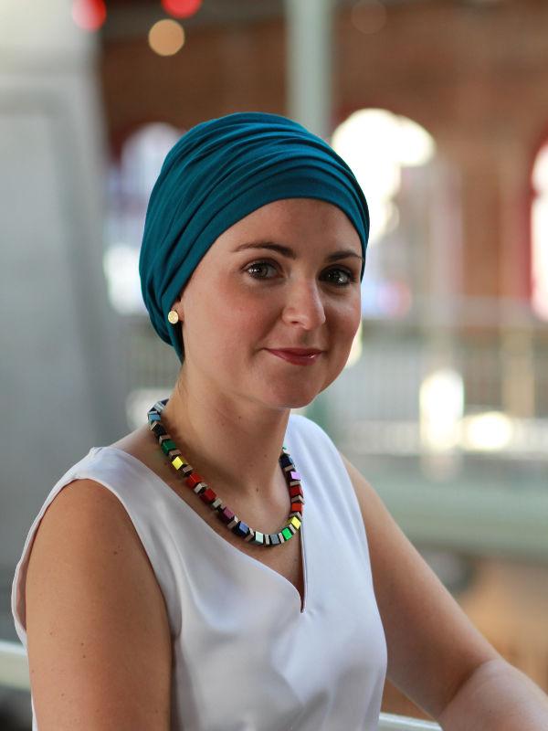 Top Noa turquoise- chemotherapie mutsje / alopecia mutsje