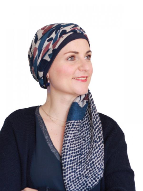Sjaalmutsje New Delhi Flower Dots - chemo hoofdsjaal / alopecia sjaal
